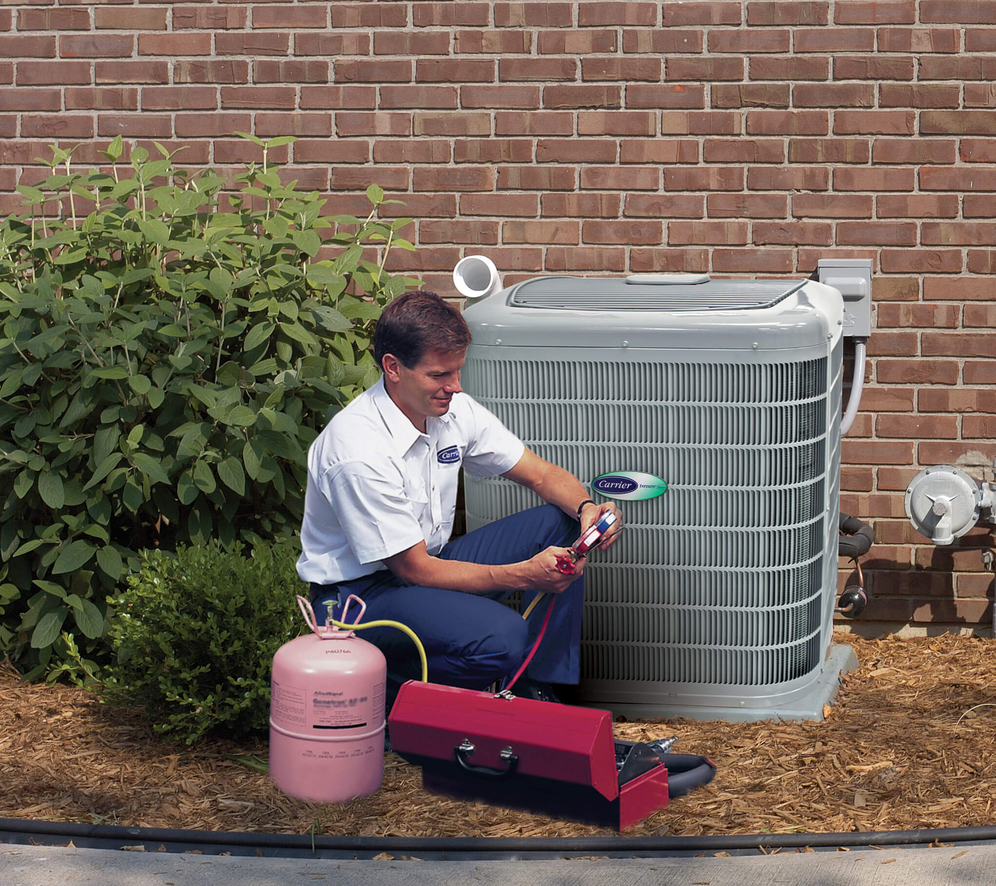 bc express hvac technician working on outdoor unit
