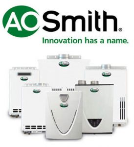 "Tankless water heaters with AO Smith Logo and tag-line, ""Innovation has a name."""