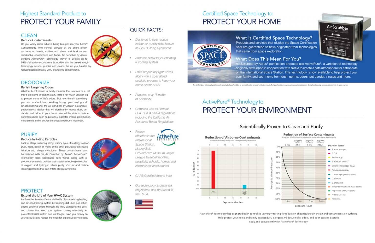An informational flyer about Air Scrubber Plus describing how the product protects your family, home and environment by cleaning, deodorizing and purifying both airborne and surface contaminants using Active Pure Technology and Certified Space Technology.